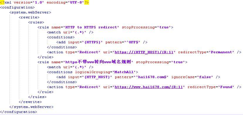 Windows IIS配置https不带www域名跳转到www域名规则